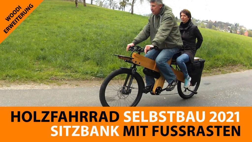 Holz Fahrrad mit Sitzbank und Fußrasten für Beifahrer/In
